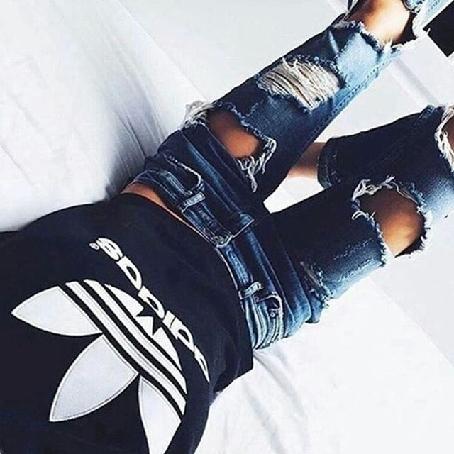 adidas, black, distressed, fashion, jeans, style, vogue