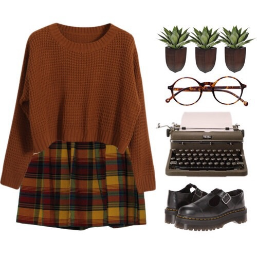 autumn, black shoes, brown, cute, fall colors, fashion, glasses, knit, nerdy, orange, outfit, plaid shirt, polyvore, summer, sweater, typewriter, school girl outfit, fall styles