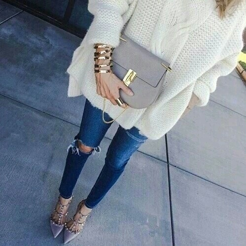 bag, fashion, girls, high heels, outfit, ripped jeans, style, sweater