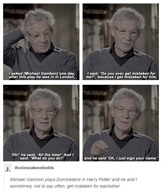 fandoms, funny, harry potter, ian mckellen, michael gambon, the lord of the rings, tumblr