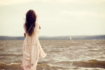 alone, girl, hair, ocean, sad, sky