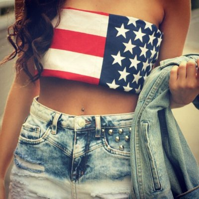 amazing, awesome, beautiful, blue, brunette, curls, flag, girl, hair, jeans, jeansjacket, red, short, stars, studs, usa