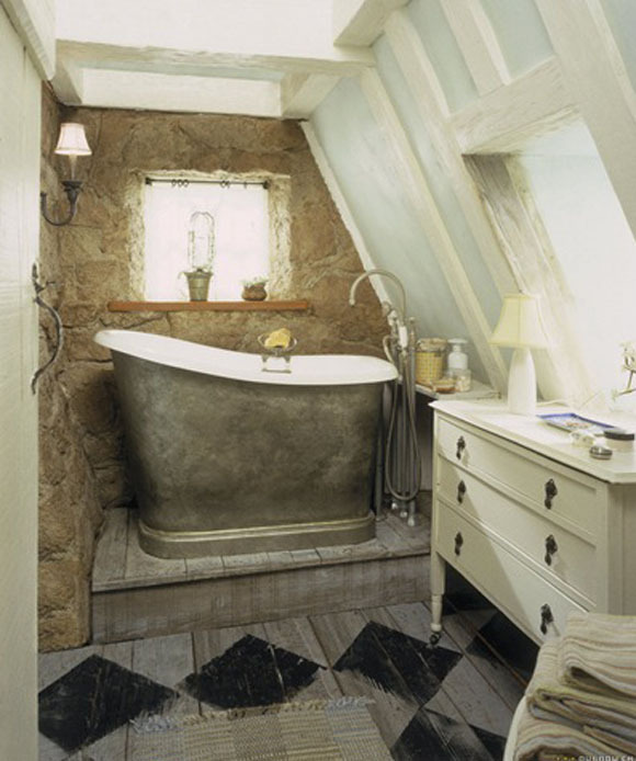 apartment, bath, ceiling, cinema, decorating, design, interior, movie, romantic, room, rustic, stone, the holiday, tub