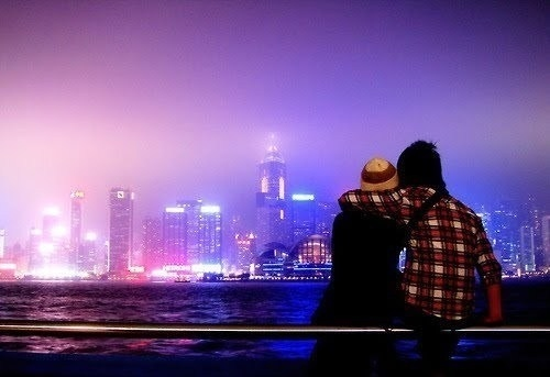 art, beautiful, buildings, city lights, cool, couple, cute, fashion, hair, night sky, photography, pretty