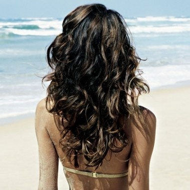 beach, beautiful, brunette, hair, summer, wavy