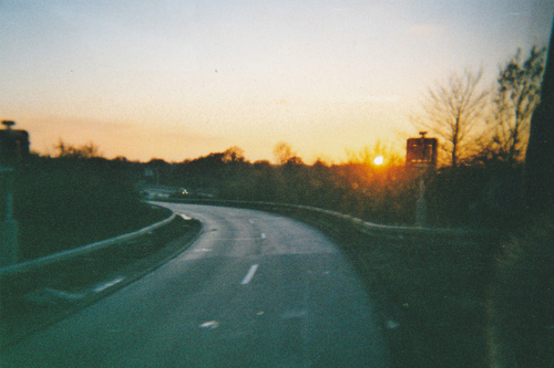 beautiful, blue, dawn, dusk, hipster, indie, morning, motorway, peaceful, photography, retro, road, sky, sun, sunlight, trees, vintage
