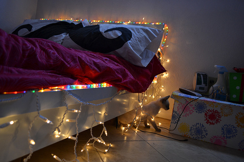 bedroom, decor, fairy lights, ikea