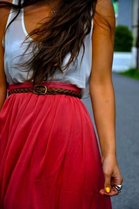 belt, cute, fashion, girls, gorgeous, hair, maxi dress, nails, pretty, ring, style, top, white