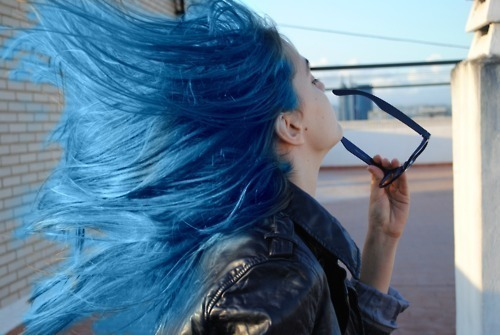 blue hair, girl, hair