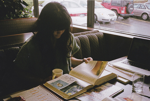 books, cup, girl, vintage