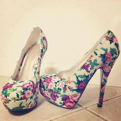 flower print, heels, shoes