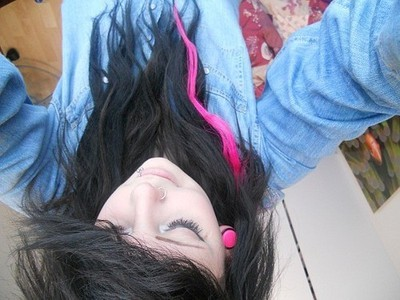 black hair, girl, piercing, pink hair, plugs, pretty, scene hair