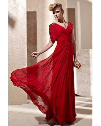 2013 red v-neck ruched tencel party dress b253