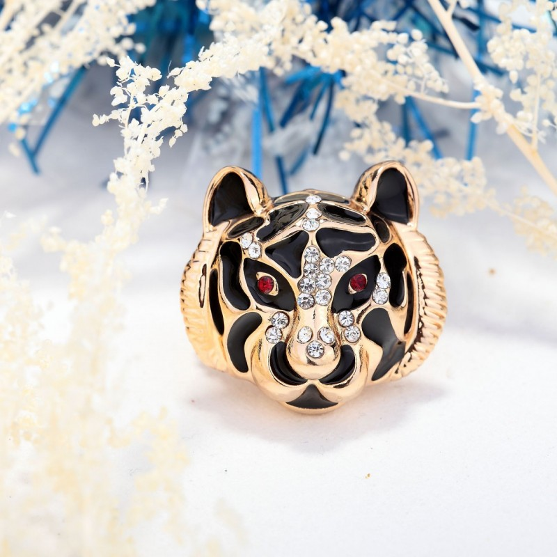 animal cocktail ring, cool, fashion and gold plated tiger ring