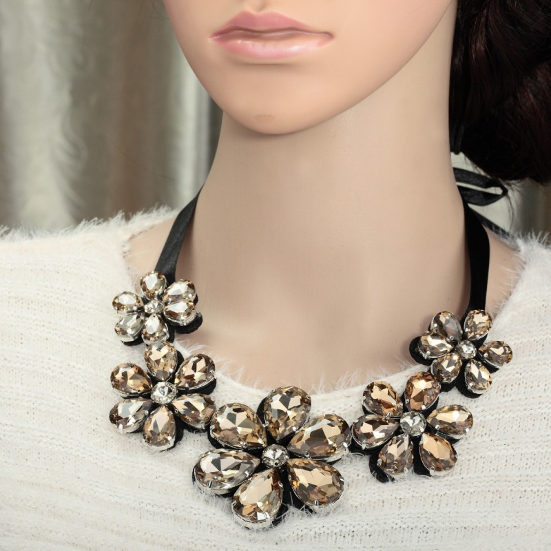 crystal, crystal flower bib necklace, crystal flower necklace and crystal flower necklace bib