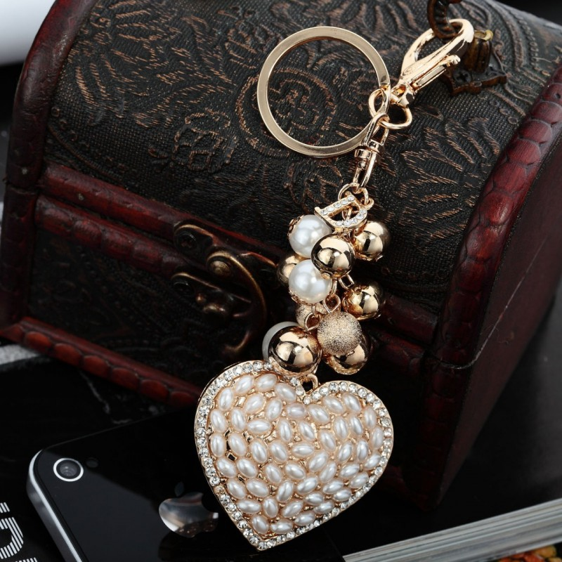 cluster ball key ring, fashion, girl and heart