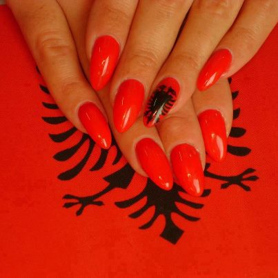 albania, nails, red, flag, hands