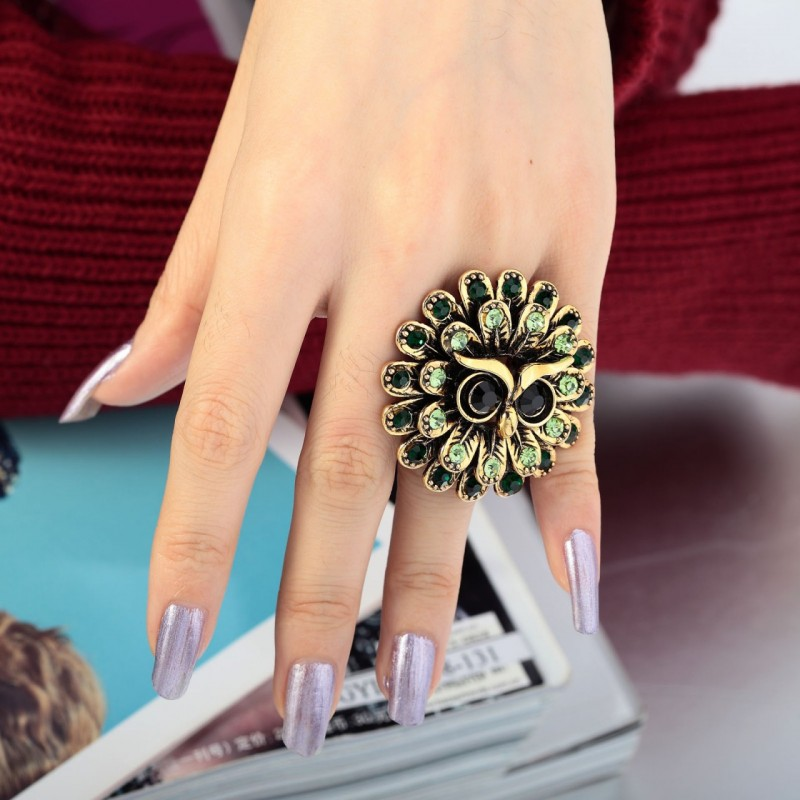 angry owl ring, antique gold owl ring, flowre owl ring and gold plated owl ring