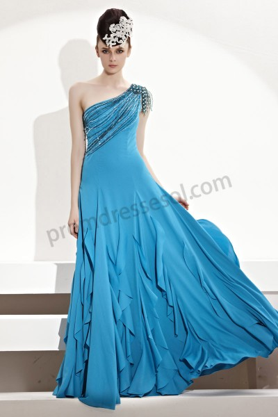 blue one-shoulder layered flouncing cocktail party dress by330