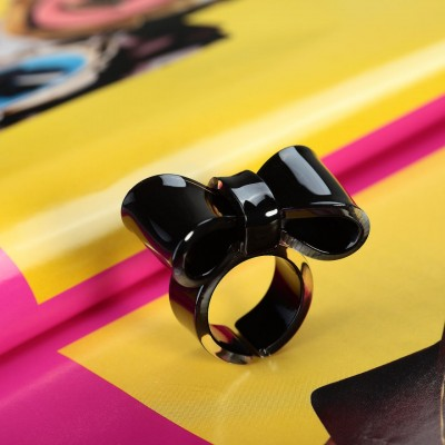 acrylic bow ring, big bow ring, black bow ring and bow ring