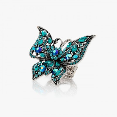 antique large butterfly ring, antique rhinestone butterfly ring, butterfly ring and large rhinestone butterfly ring