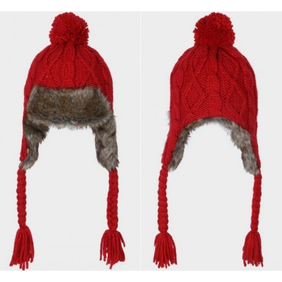 cable knit faux fur pom pom chullo $24.99