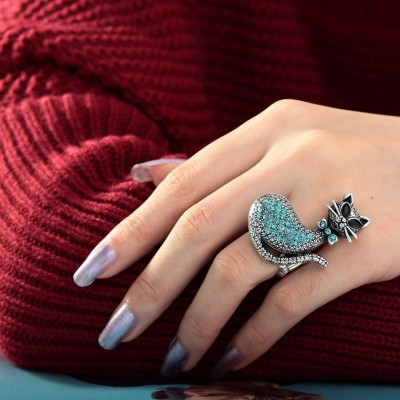 antique cat ring, blue cat ring, cat rings and cocktail cat ring