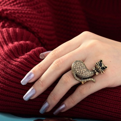 antique cat ring, brown cat ring, cat rings and cocktail cat ring