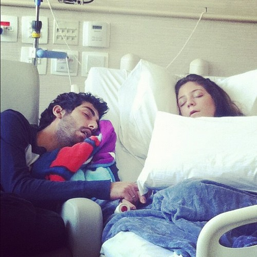 couple, cute, hospital, love, sleep, sweet