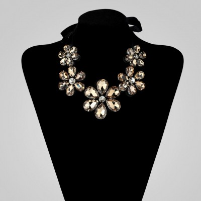 champagne crystal flower necklace, crystal flower bib necklace, crystal flower necklace and crystal flower necklace bib