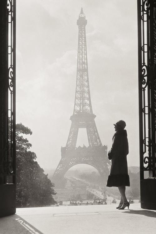 Eiffel tower fog france paris photography vintage
