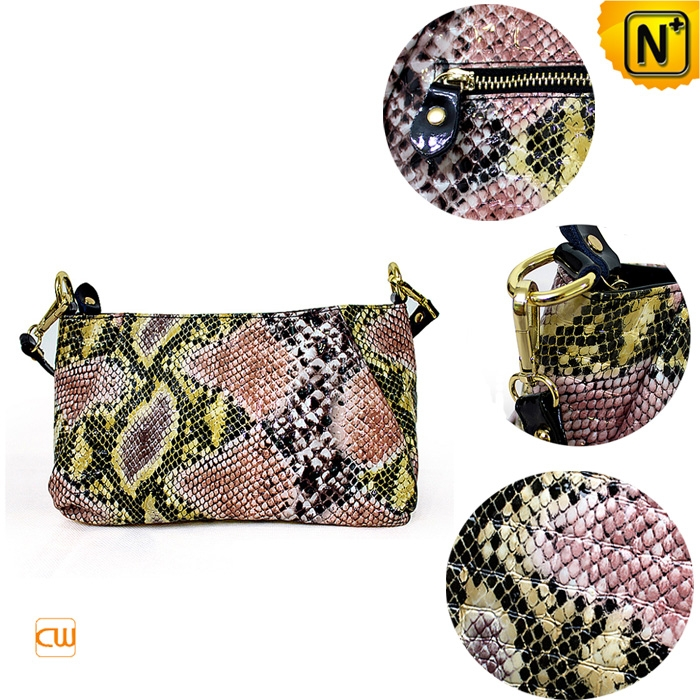 embossed python leather shoulder bags cw300218 - cwmalls.com