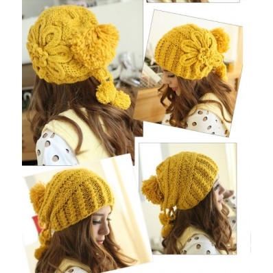 fashion crochet flower pom pom beanie $19.89