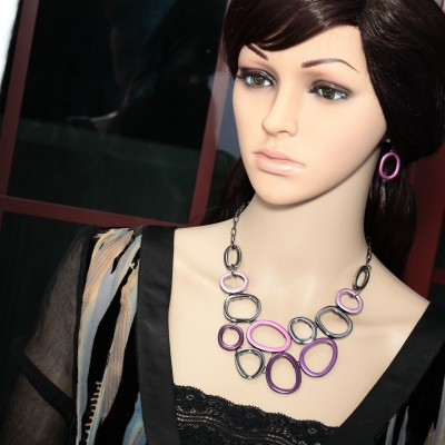 circle jewelry set, fashion, geometric multi circle necklace and girl