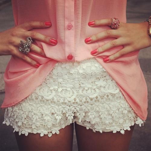 Girly Shorts Lace Tumblr Girl Fashion All Cute Outfits Summer Outfits Memes