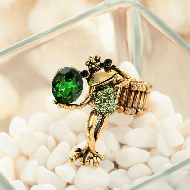 crown frog stretch ring, crystal frog ring, crystal glass ring and frog prince ring