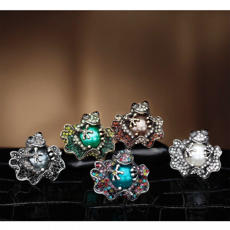 baby frog ring, fashion, frog cocktail ring and frog stretch ring