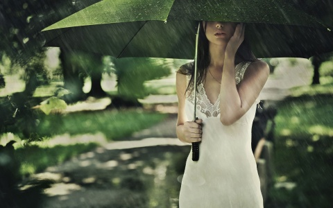 alone, beautiful, dress, girl, lovely, rain, sweet, wet