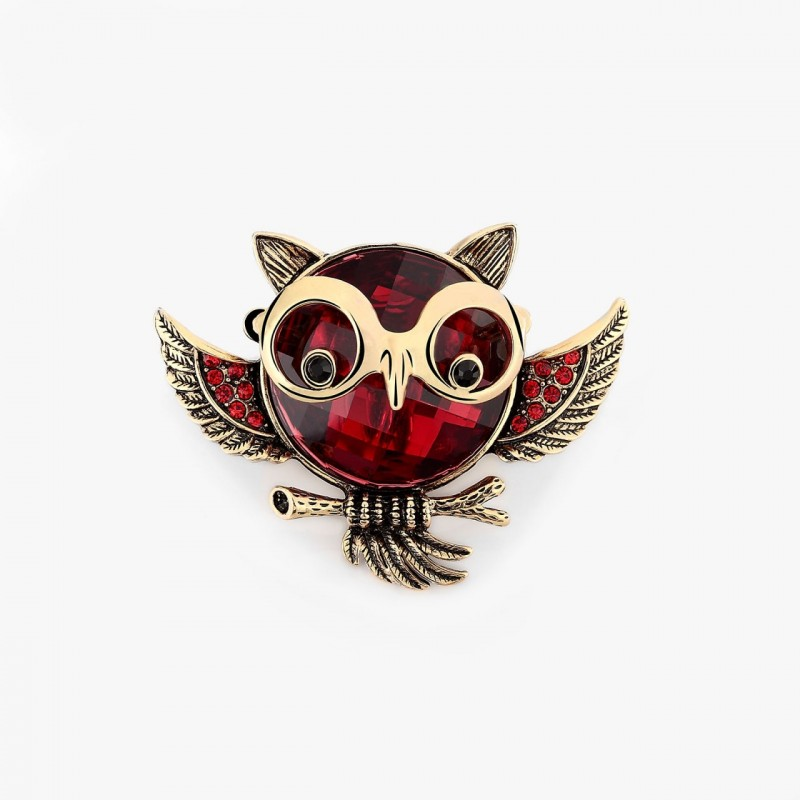 animal cocktail ring, antique owl ring, crystal owl ring and gold plated owl ring