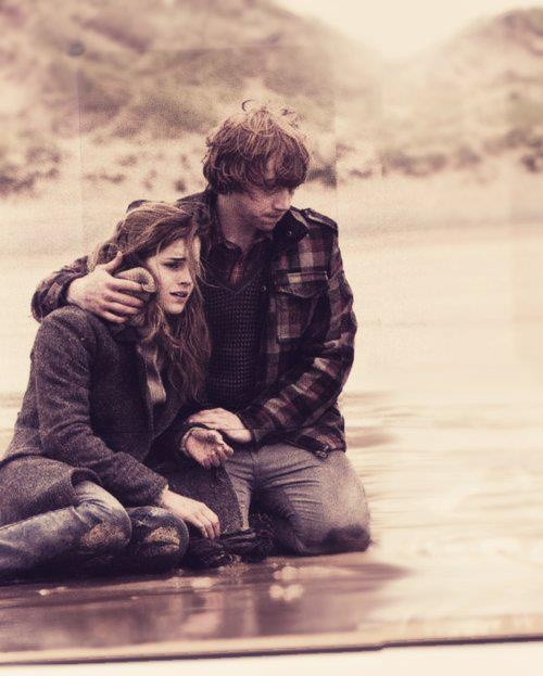 book, harry potter, hermione, hogwarts, love, magic, movie, romantic, ron