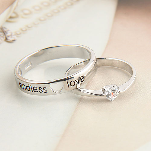9d99d47df0 heart shape, endless love, lovers, couple ring, 925 - image #591067 ...
