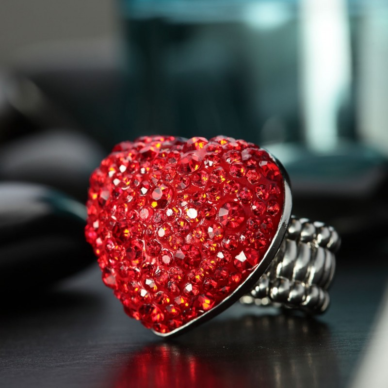 heart cocktail ring, heart stretch ring, pave heart cocktail ring and pave heart stretch ring
