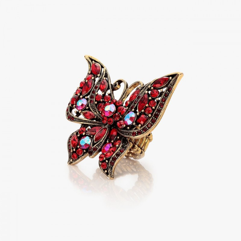 antique large butterfly ring, antique rhinestone butterfly ring, large butterfly ring and large rhinestone butterfly ring