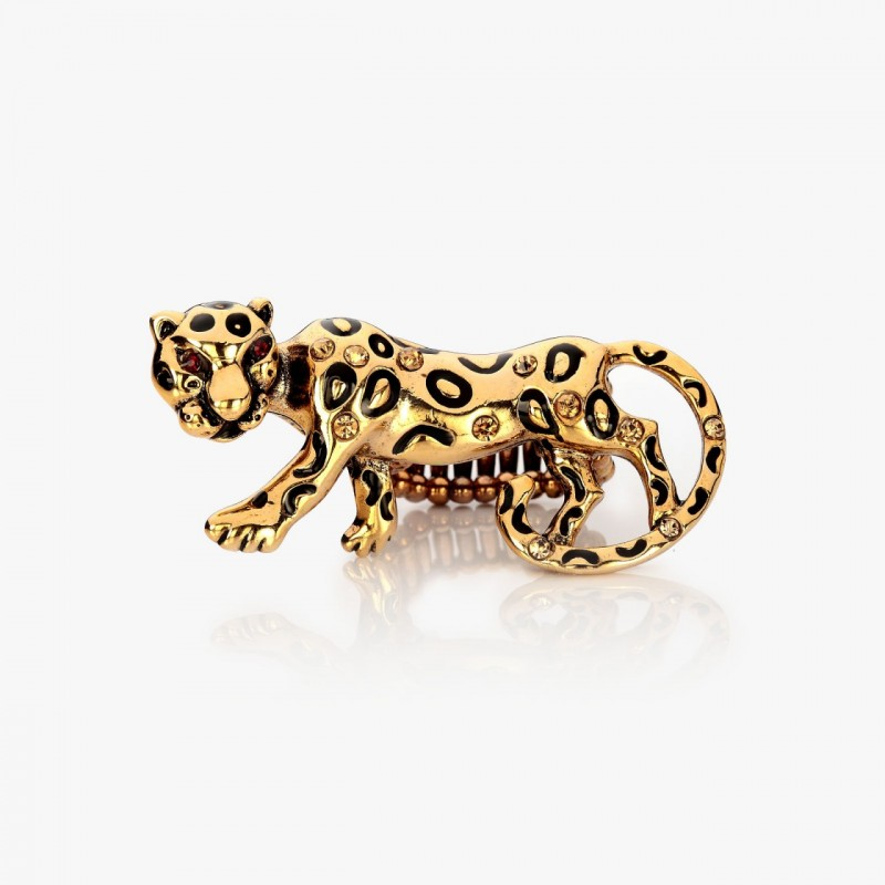 animal stretch ring, baby leopard ring, gold leopard ring and leopard cocktail ring