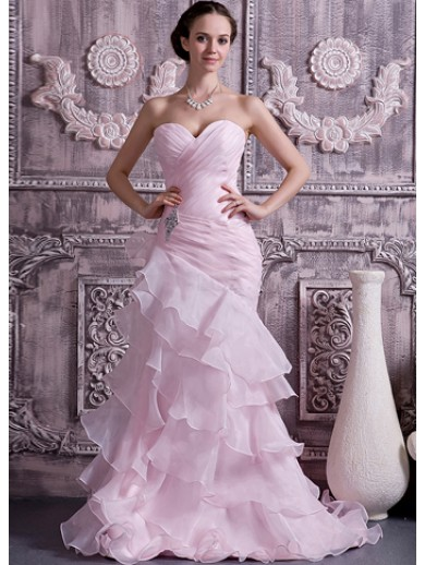 pink organza satin sweetheart ball gown wedding dress