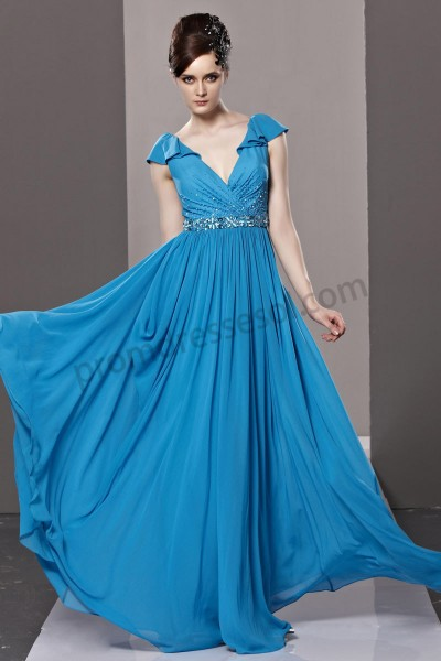 sapphire blue v-neck falbala low back chiffon fashion evening dress by219