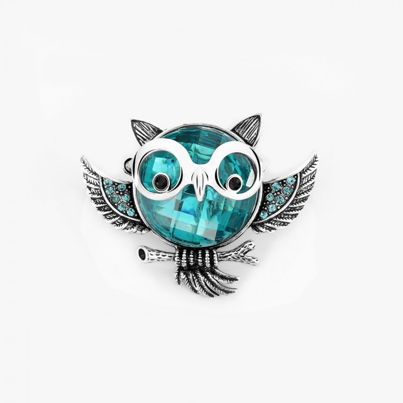 antique owl ring, crystal owl ring, owl cocktail ring and owl stretch ring