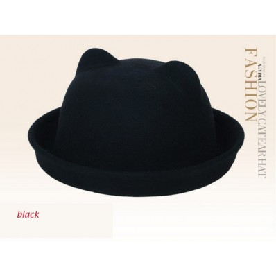 stylish vintage cat ears wool bowler $16.99