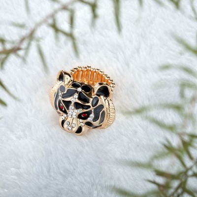 animal cocktail ring, gold plated tiger ring, gold tiger ring and rhinestone tiger ring