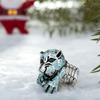 animal stretch ring, leopard cocktail ring, leopard stretch ring and rhinestone leopard ring